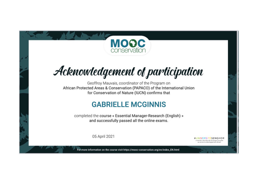 Certificate of Completion IUCN MOOC