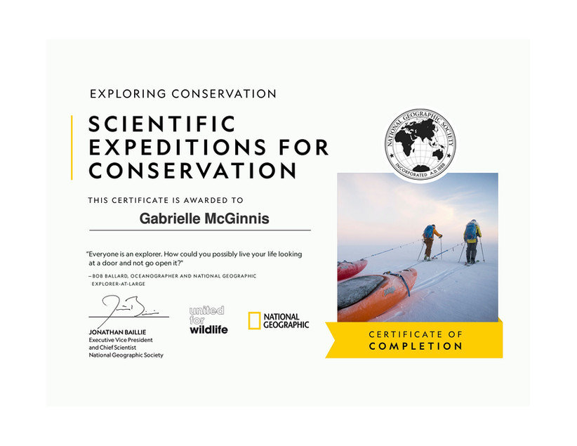 Scientific Expeditions for Conservation Certificate