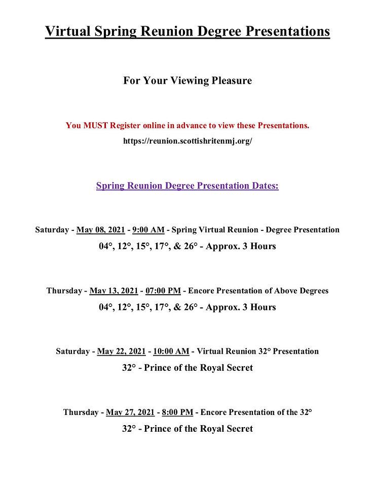 2021 - Spring Virtual Reunion Degree Pre