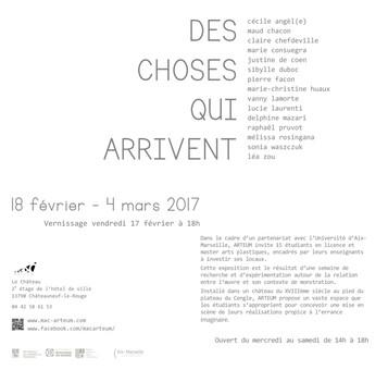 """Flyer exposition """"Des choses qui arrivent"""" Mac ARTEUM, Châteauneuf-le-Rouge"""