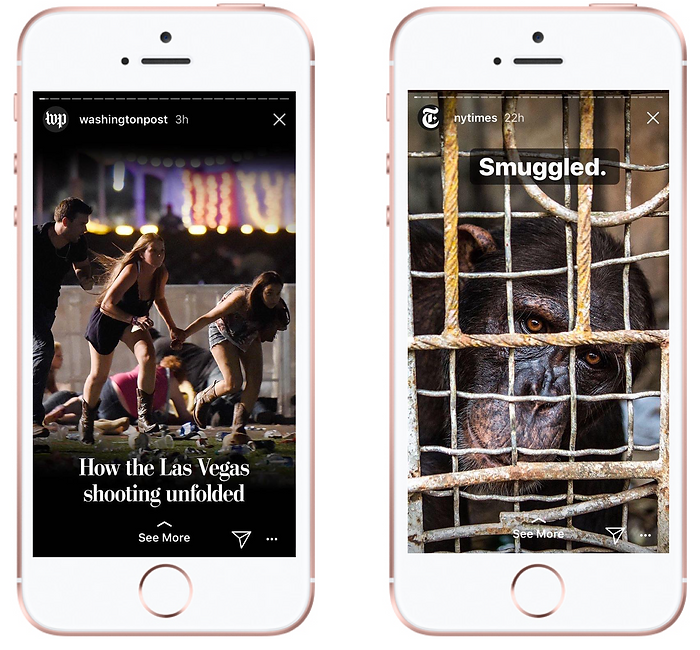 Instagram Stories by The Washington Post and The New York Times
