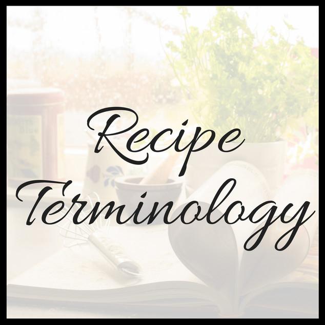Recipe Terminology