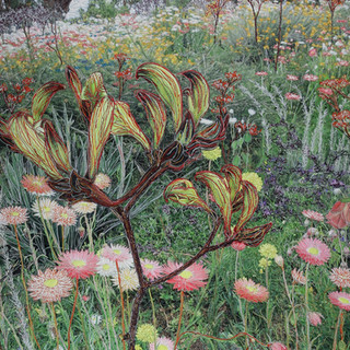 Everlasting Flowerbed with Kangaroo Paw, 2019  87 x 67 cm  Embellished inkjet canvas photographic print using free motion machine stitching, acrylic marker, wadding