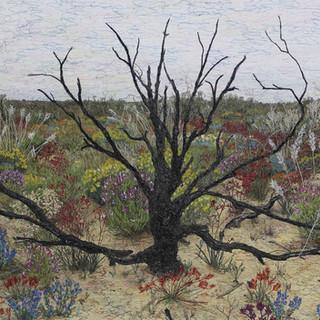 Death in Paradise, 2020  89 x 110 cm  Embellished inkjet canvas photographic print using acrylic marker, free motion machine stitching, wadding