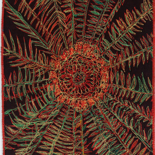 Wild Pineapple II, 2018  23 x 20 cm  Free motion machine stitching on unique state lino-cut fabric print, wadding
