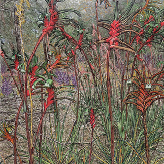 Bloom, 2019  84 x 68 cm  Embellished inkjet canvas photographic print using free motion machine stitching, acrylic marker, wadding  Finalist, AQIPP 2019, Whithorse Gallery Collection 2019