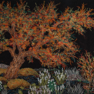 Hidden Autumn, 2018  65 x 74 cm  Bleach, ink, free motion machine stitching on fabric, wadding  Finalist, Pro Hart Outback Art Prize 2018