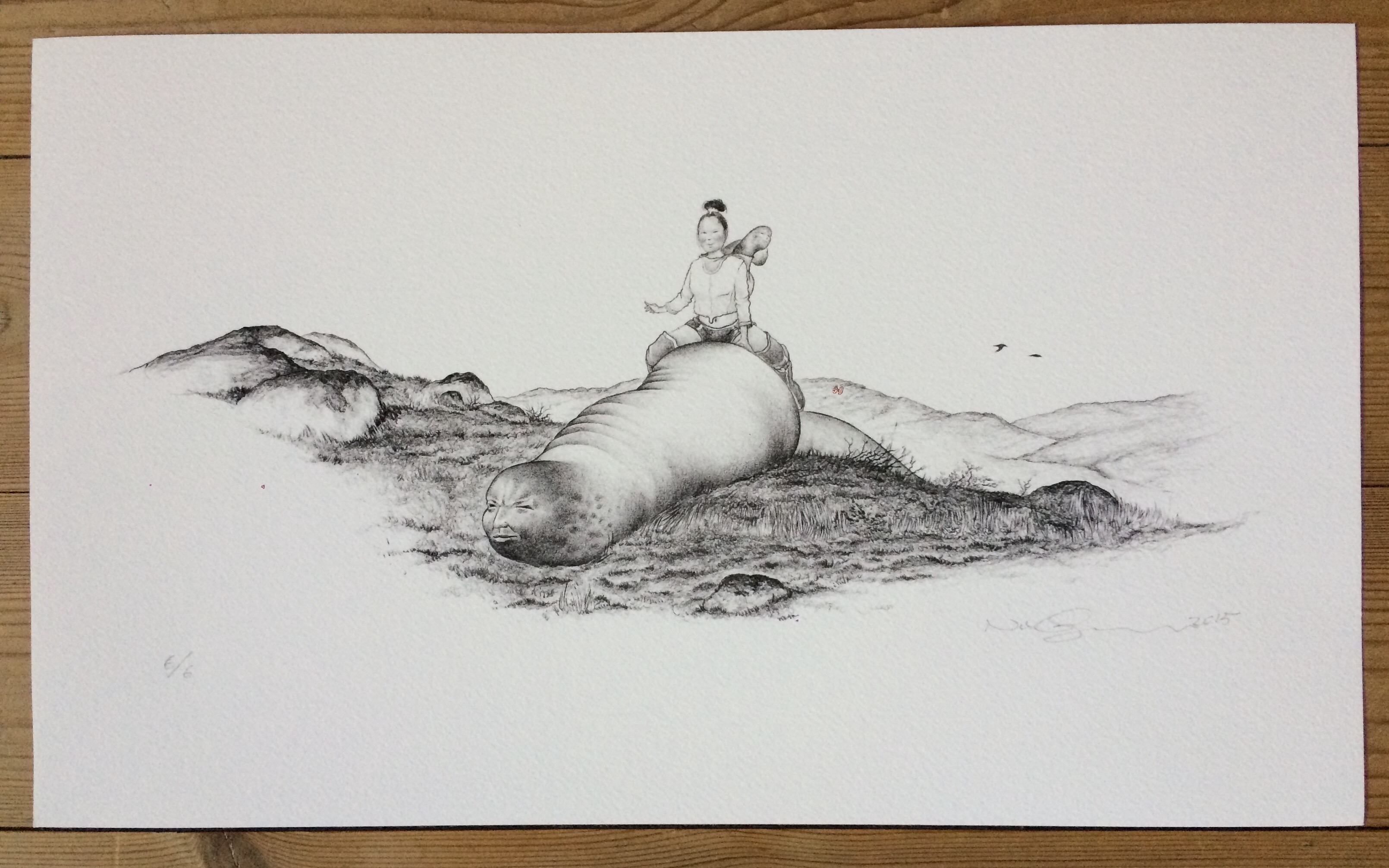 Woman and Worm, print