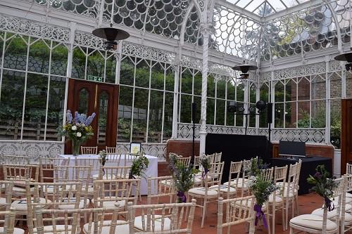 Wedding set up at the Horniman Museum, DJ Jules, Wedding DJ London