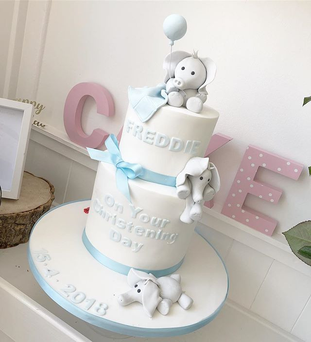 Cutest elephant christening cake for lit