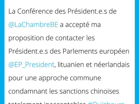 Approche commune des Parlements touchés par les sanctions chinoises