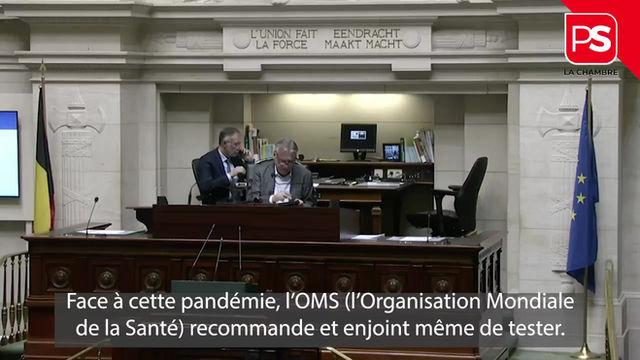 Covid-19 : mon intervention à la Chambre ce 26/03 au sujet du dépistage systématique