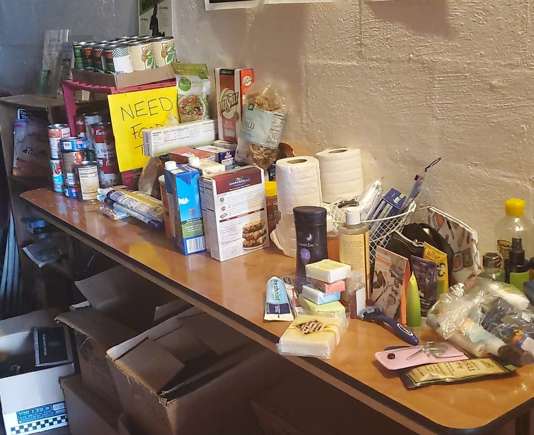 Start of our food pantry stock thanks to drive donations
