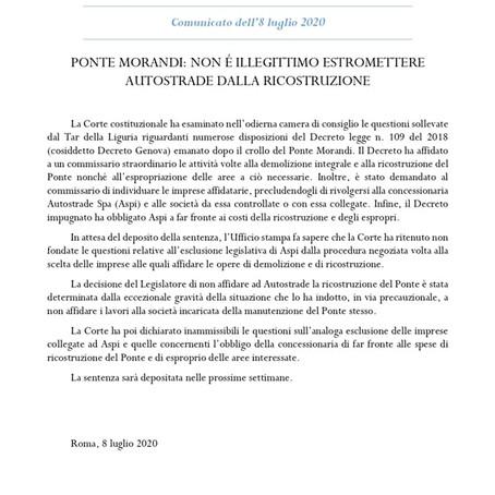 Comunicato dell'ufficio stampa della Corte Costituzionale