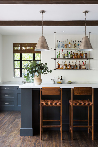 Katie Hodges Design - California Home Design - Kitchen Design - Custom Shelving - Custom Home - Island Seating - Leather Dining - Custom Cabinets