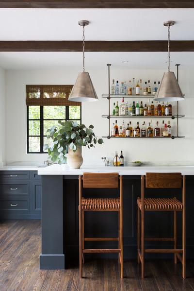 Katie Hodges Design - California Home Design - Kitchen Design - Custom Shelving - Custom Home - Island Seating - Leather Dining - Custom Cabinets