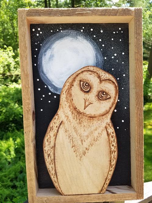 Snow Owl with Moon