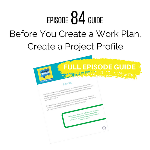Guide to Episode 84: Before You Create a Work Plan, Create a Project Profile