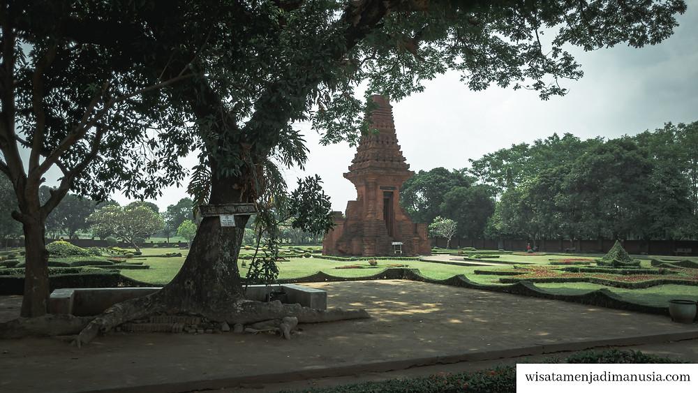 Kemegahan Gapura Bajang Ratu yang bisa dilihat sambil duduk santai di bawah pohon beringin tua yang besar ukurannya.