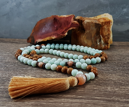 Empowered Energy, Amazonite, Peach Moonstone & Yellow Jasper Gemstone Mala