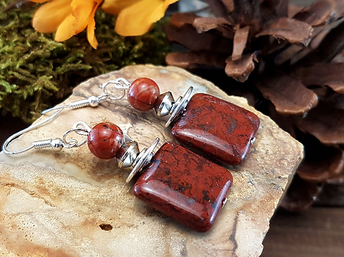 Confident Exuberance, Red Jasper Gemstone Earrings