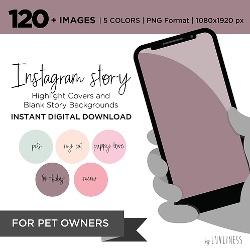 INSTAGRAM Story Highlight, Pets Pack, Instant Download, Icecream Theme