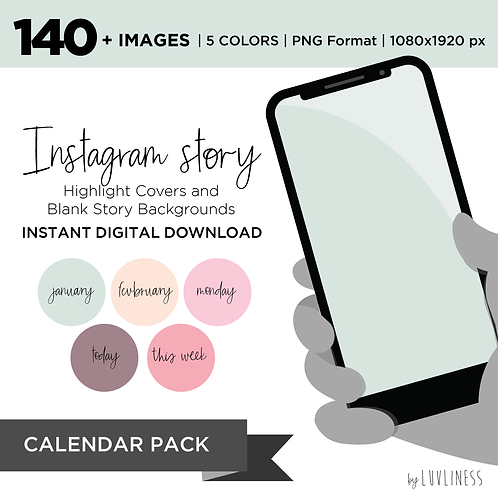 INSTAGRAM Story Highlight, Calendar Pack, Instant Download, Icecream Theme