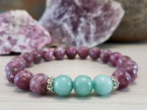 Spiritual Communication, Lepidolite & Aquamarine Gemstone Bracelet