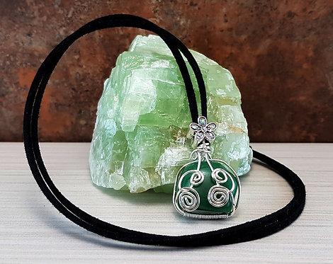 Manifest Opportunity, Green Aventurine Gemstone Wire-wrapped Pendant