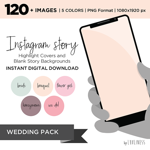INSTAGRAM Story Highlight, Wedding Pack, Instant Download, Icecream Theme