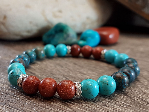 Understanding Serenity, Turquoise, Sandstone & Chrysocolla Gemstone Bracelet