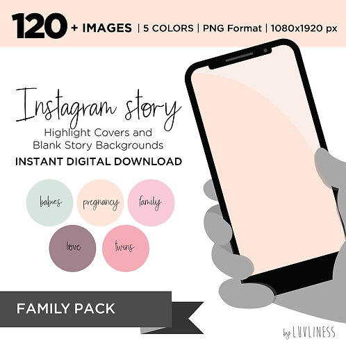 INSTAGRAM Story Highlight, Family Pack, Instant Download, Icecream Theme
