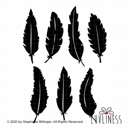 SET OF 2, BOHO Feathers Group SVG PNG EPS Digital Download