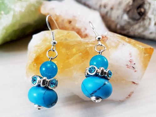 High Vibing, Blue Topaz & Howlite Gemstone Earrings