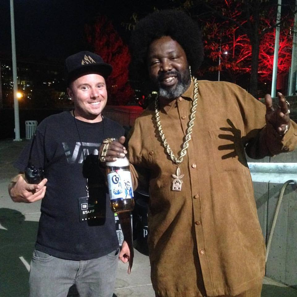 A perk of the job: I chilled with Afroman while working the Snowboard on the Block Festival last year.