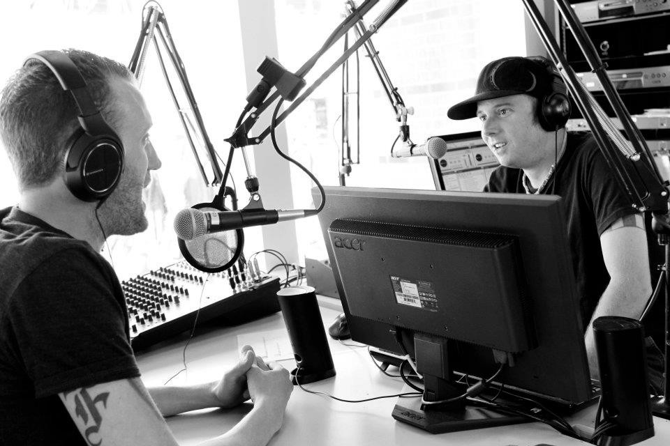 On-air: Me with my buddy and former colleague Brett Finn in 2012