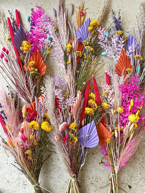 Bright Dried Flower Bouquets