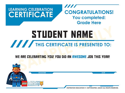 Lego Nexo Knights Learning Certificate (custom)