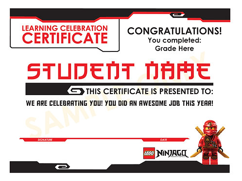 Lego Ninjago Learning Certificate (custom)