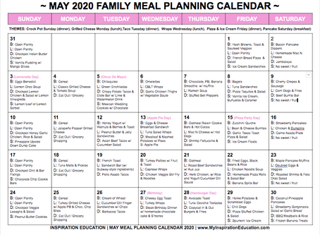 Free May 2020 Meal Planning Calendar