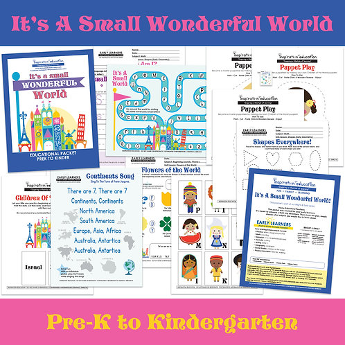 It's A Small World Educational Packet (PreK to Kinder)