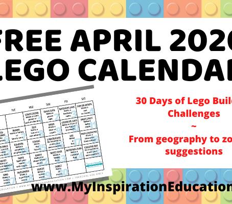 Free April 2020 Lego Building Calendar