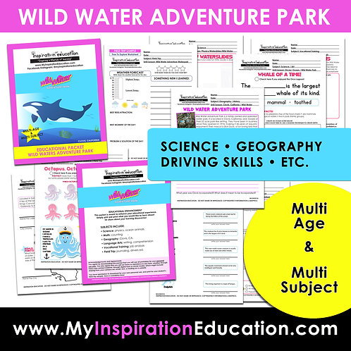 Wild Water Adventure Park Educational Packet (All In One)