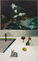 어두운 산, watercolor on canvas, 130.3 x 89.4 cm, 2016