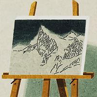 산 그림, watercolor on canvas, 40x40 cm, 2017