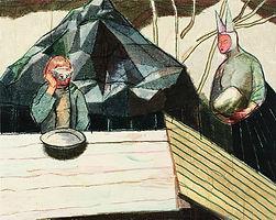 어느 오후의 소동, watercolor on canvas, 72.7x91cm, 2014