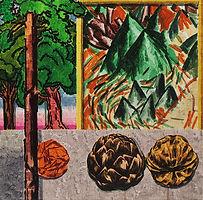 주황색 종이뭉치가 노래 부르던 날, 2018, watercolor on canvas, 40x40cm