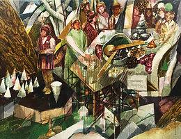 연못 대화들, watercolor on canvas, 150 x 194 cm, 2015,