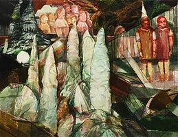 동굴 속 울림 노래, watercolor on canvas, 112x145.5cm, 2014
