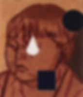 얼굴과 원뿔, watercolor on canvas, 53 x 45.5cm, 2016